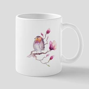 Lavender and Grey Sparrow Bird on Magnolia Fl Mugs