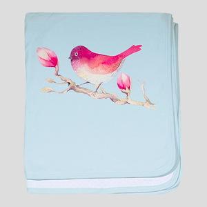 Pink Sparrow Bird on Magnolia Flower baby blanket