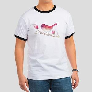 Pink Sparrow Bird on Magnolia Flower Branc T-Shirt