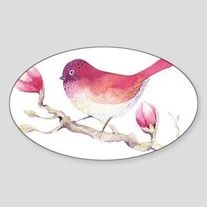 Pink Sparrow Bird on Magnolia Flower Branc Sticker