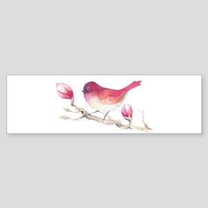 Pink Sparrow Bird on Magnolia Flowe Bumper Sticker