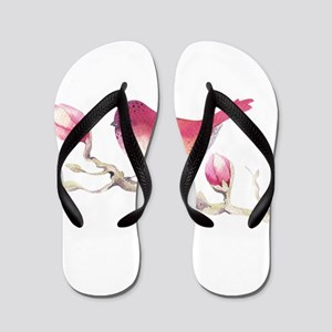 7f1961dc508342 Pink Sparrow Bird on Magnolia Flower Br Flip Flops
