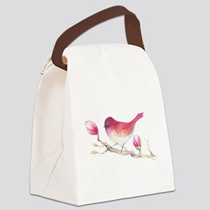 Pink Sparrow Bird on Magnolia Flo Canvas Lunch Bag