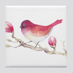 Pink Sparrow Bird on Magnolia Flower Tile Coaster