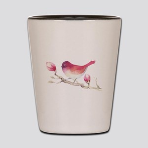 Pink Sparrow Bird on Magnolia Flower Br Shot Glass