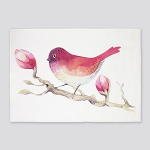 Pink Sparrow Bird on Magnolia Flowe 5'x7'Area Rug
