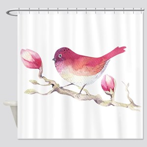 Pink Sparrow Bird on Magnolia Flowe Shower Curtain