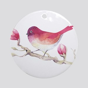Pink Sparrow Bird on Magnolia Flowe Round Ornament
