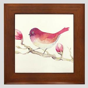 Pink Sparrow Bird on Magnolia Flower B Framed Tile