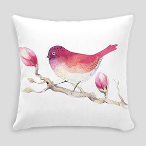 Pink Sparrow Bird on Magnolia Flow Everyday Pillow