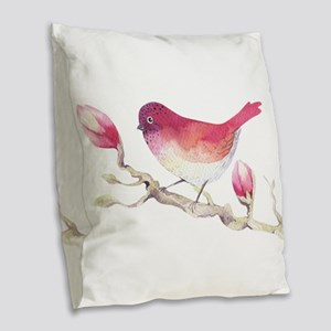 Pink Sparrow Bird on Magnolia Burlap Throw Pillow