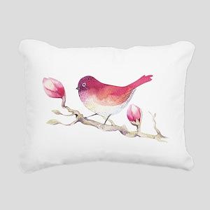 Pink Sparrow Bird on Mag Rectangular Canvas Pillow