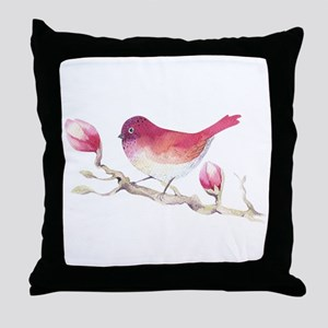 Pink Sparrow Bird on Magnolia Flower Throw Pillow
