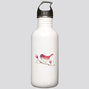 Pink Sparrow Bird on M Stainless Water Bottle 1.0L