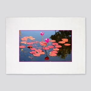 water lily, garden pond photo 5'x7'Area Rug