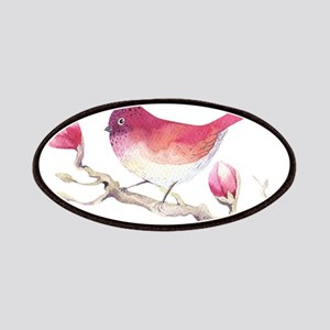 Pink Sparrow Bird on Magnolia Flower Branch Patch