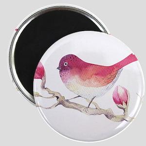 Pink Sparrow Bird on Magnolia Flower Branc Magnets