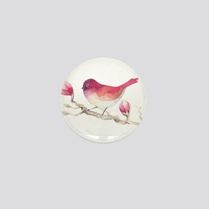 Pink Sparrow Bird on Magnolia Flower B Mini Button