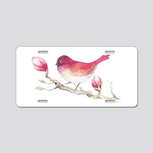 Pink Sparrow Bird on Magnol Aluminum License Plate