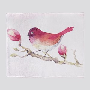 Pink Sparrow Bird on Magnolia Flower Throw Blanket