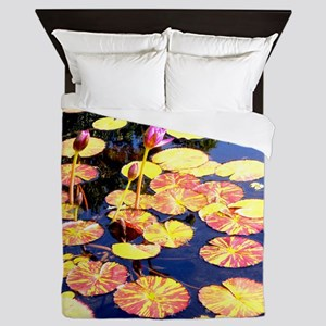 Water lily, nature photo Queen Duvet