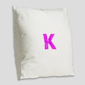 K (Pink) Burlap Throw Pillow