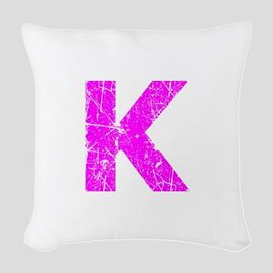 K (Pink) Woven Throw Pillow