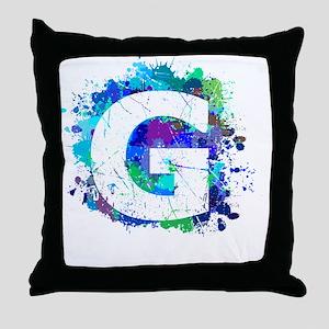 G (Ink Spots) (Blue) Throw Pillow