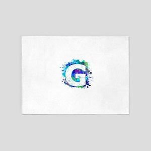 G (Ink Spots) (Blue) 5'x7'Area Rug