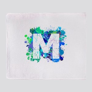 M (Ink Spots) (Blue) Throw Blanket