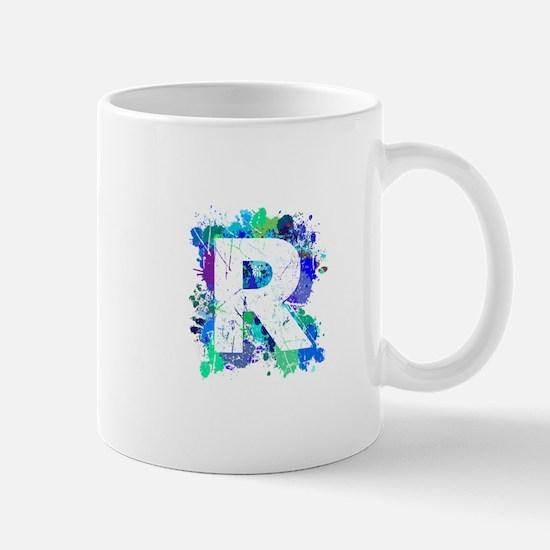 R (Ink Spots) (Blue) Mugs