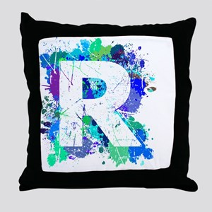 R (Ink Spots) (Blue) Throw Pillow