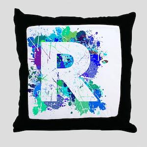 R (Ink Spots) (Blue) Throw Pillow