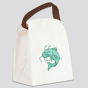 Catfish Mud Cat Jumping Mono Line Canvas Lunch Bag