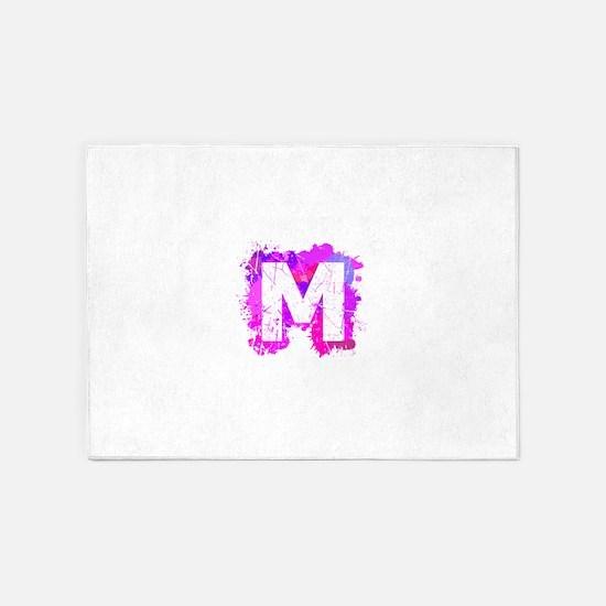 M (Ink Spots) (Pink) 5'x7'Area Rug