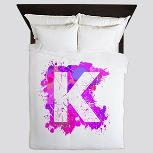 K (Ink Spots) (Pink) Queen Duvet