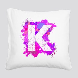 K (Ink Spots) (Pink) Square Canvas Pillow