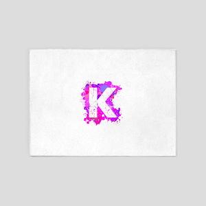 K (Ink Spots) (Pink) 5'x7'Area Rug