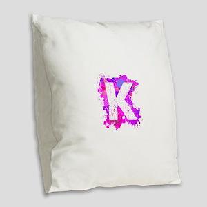 K (Ink Spots) (Pink) Burlap Throw Pillow