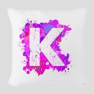 K (Ink Spots) (Pink) Woven Throw Pillow
