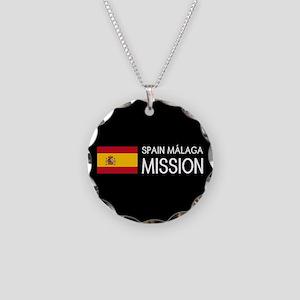 Spain, Málaga Mission (Flag) Necklace Circle Charm