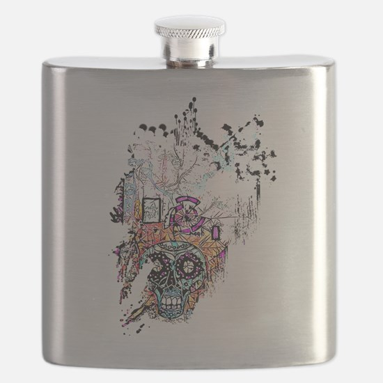 Sugar Skull Day of the Dead Artsy Original A Flask