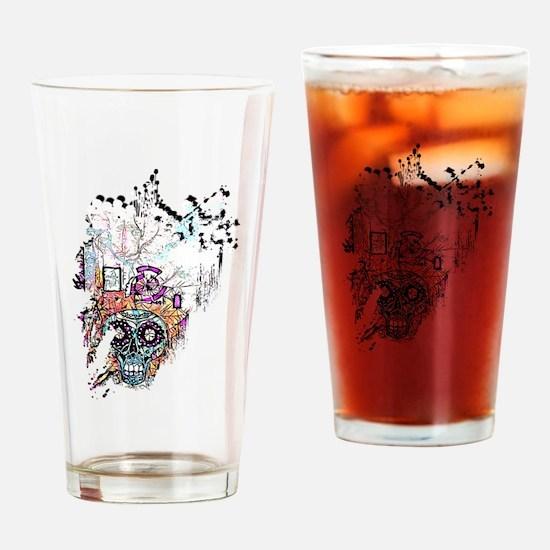 Sugar Skull Day of the Dead Artsy O Drinking Glass