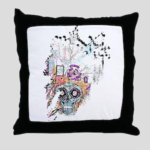 Sugar Skull Day of the Dead Artsy Ori Throw Pillow