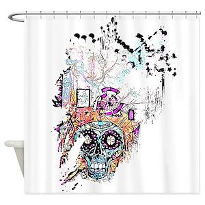 Sugar Skull Cat Shower Curtains