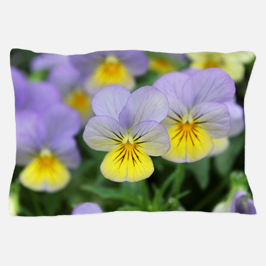 yellow purple pansy flower Pillow Case