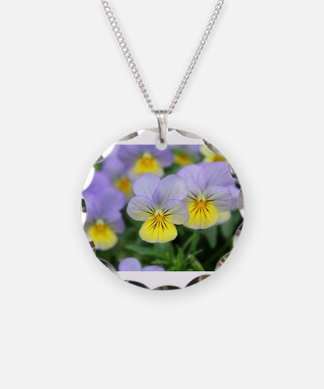 yellow purple pansy flower Necklace