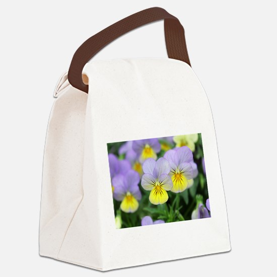 yellow purple pansy flower Canvas Lunch Bag