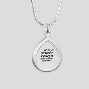 It Is Norwegian Thing Yo Silver Teardrop Necklace