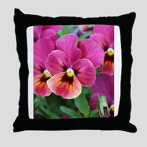 European Garden Pink Pansy Flower Throw Pillow